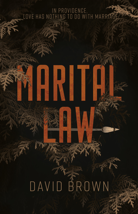 Marital Law cover: the title in orange set in a dark tree with a spear through it