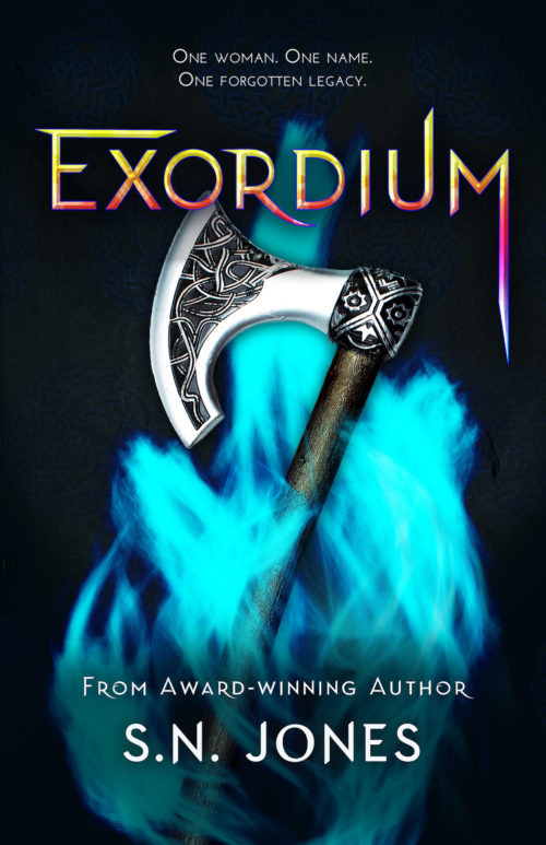 A YA book cover showing an axe wrapped in a cold blue flame and the title Exordium above in yellow